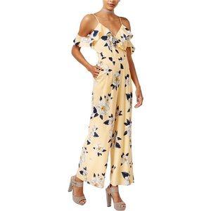 J by J.O.A. Yellow Floral Off-Shoulder Jumpsuit